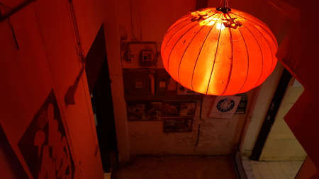 Red Chinese lantern at the rear of resturant