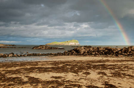Rainbow over the sea, North Berwick Stock Photo