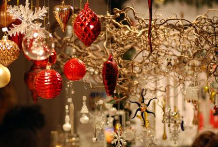 Wares for sale at the Edinburgh Christmas market Stock Photo