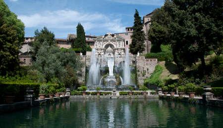 water feature: Water Feature, Villa d Este, Tivoli Stock Photo
