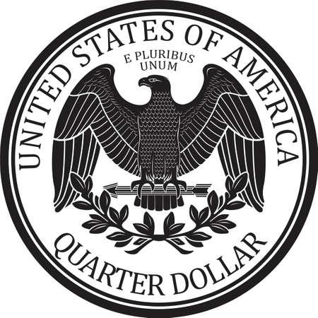 Ready minted high quality Quarter Dollar Coin back vector Vektoros illusztráció