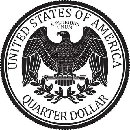 Ready minted high quality Quarter Dollar Coin Back Jagged vector