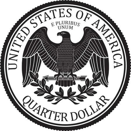 Vecteur déchiqueté de pièce de monnaie de quart de dollar de haute qualité prêt à l'emploi