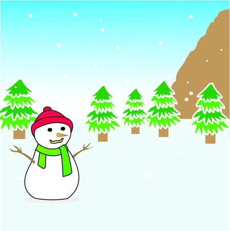 green tophat: Snowman Illustration