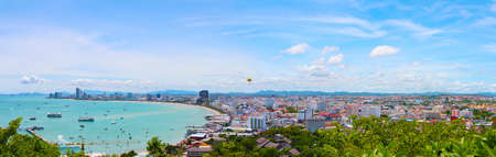 view from the sea of the buildings and skyscrapers in Pattaya Beach  Stock Photo