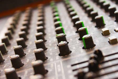 Mixing board close up photo