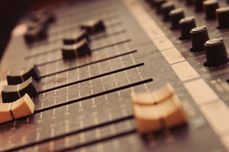 Mixing board close up photo
