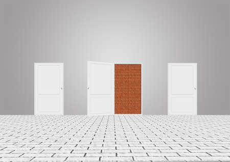 unavailability: open and closed white doors. Stock Photo
