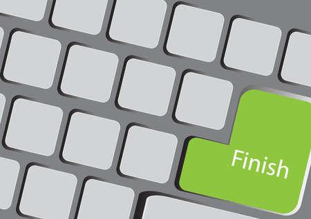 computer key: Text finish at the computer key