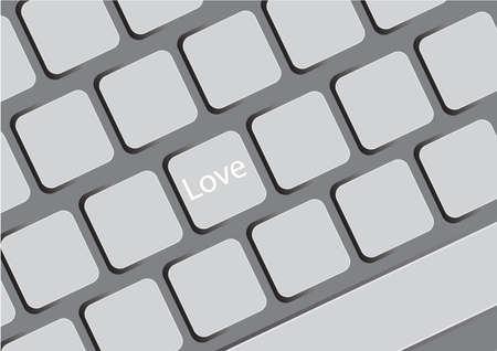 computer key: love at the computer key Illustration