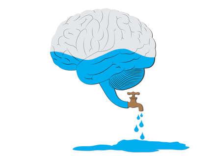Fuga de cerebros Ilustración de vector