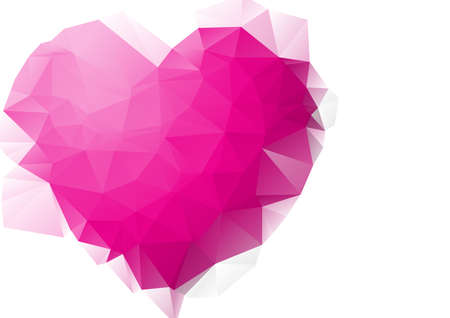 pink heart: Polygonal pink Heart background