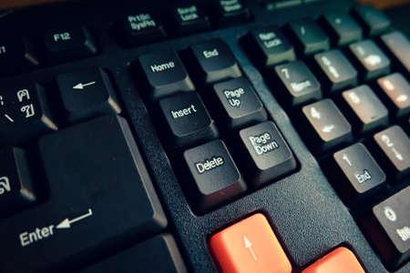 communications tools: Black keyboard close up