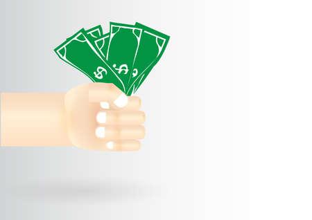cash in hand: Money cash hand arm Illustration
