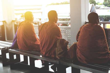 Bodhgaya, Thailand - Novenber 13, 2016. Monks sitting at port in Bangkok,Monks.