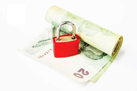 Lock money isolated on white background