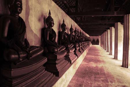 Black and white Buddha statues Stock Photo