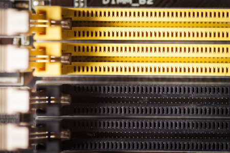 Printed computer motherboard board RAM connector slot