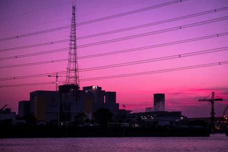 Sunset over Lower factory Banco de Imagens