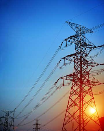 High voltage post.High-voltage tower sky background. Banco de Imagens