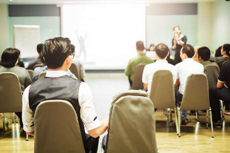 Training Room.Abstract blur people lecture in seminar room, education or training concept Stock Photo