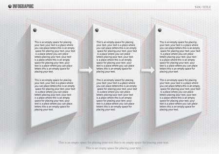 Square presentation creative concept business data visualization for infographic. With 3 options. Vector illustration. Ilustração