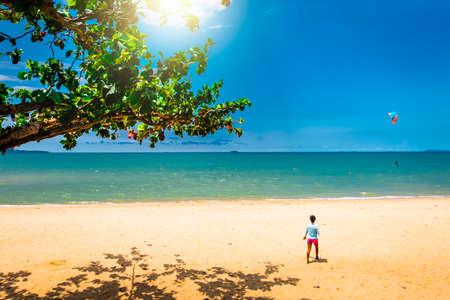 Beautiful tropical Thailand island panoramic with beach, white s