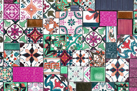 Colorful wall tiles As a guideline for building decoration Фото со стока