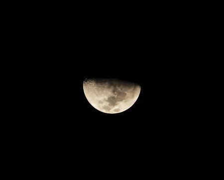 Half moon on black sky background Reklamní fotografie