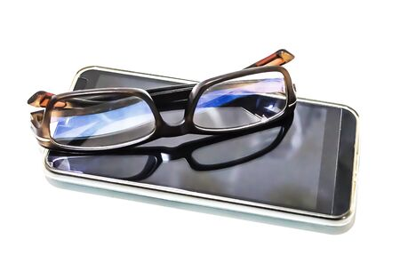 Telephone and eyeglasses are used for visually impaired people. On a white background Stockfoto