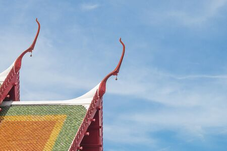 Temple roof  with blue sky background