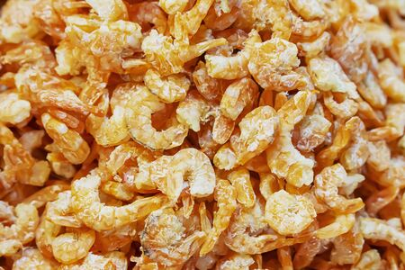 Small shrimp are dried until orange. For cooking Thai food