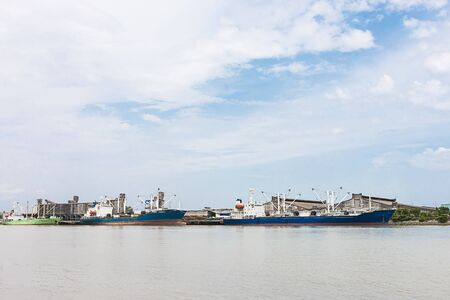 Large ship repair ground in the river 免版税图像