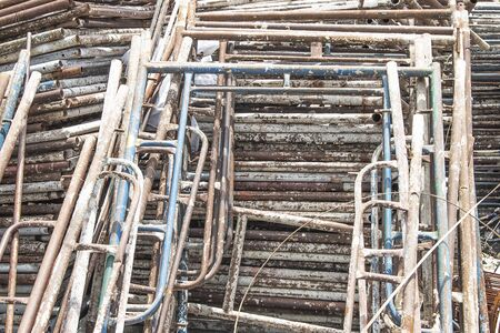 Many old scaffolding for home construction