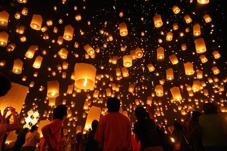 candil: Tailandia Loy Kratong linterna flotante