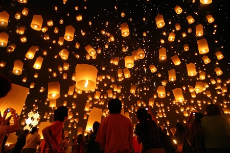 hope sign: Thailand Loy Kratong floating lantern Stock Photo