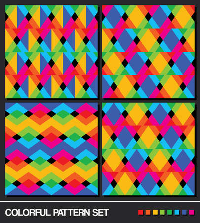 vector set  2   Colorful seamless geometric pattern background  Vector