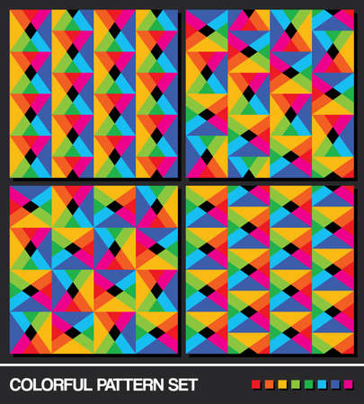 vector set  4   Colorful seamless geometric pattern background  Vector