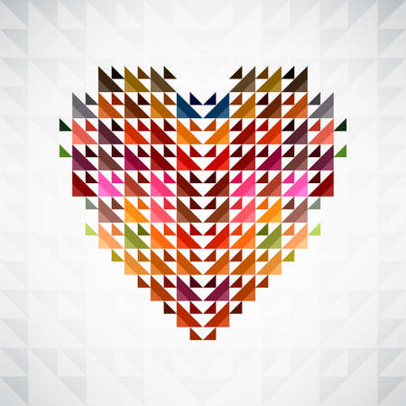 Abstract heart shape background made by triangles. Vector