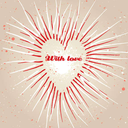 Vintage grungy heart. Valentines day background. Vector