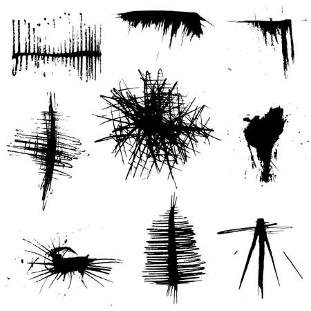 set of grungy Ink and brush strokes Vector