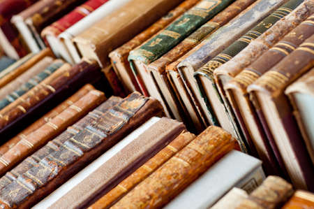book binding: old books background Stock Photo