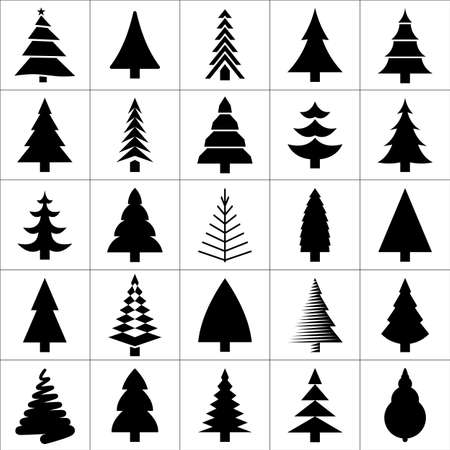 outline drawing: Christamas tree silhouette design collection. Concept tree icon set.  Illustration