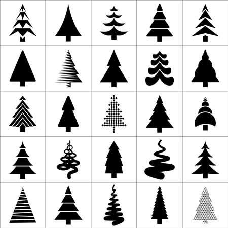silhouette arbre hiver: Christamas arbre silhouette sc�nographie. Collection d'ic�nes Concept arbre. Illustration