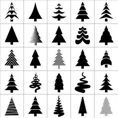 winter tree: Christamas tree silhouette design set. Concept tree icon collection.