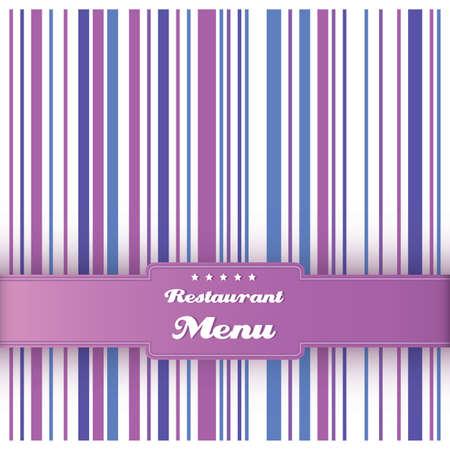 Restaurant menu card design template. Vintage striped background. Purple, blue and violet colors. Vector