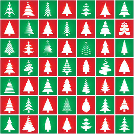 Christmas trees silhouette concept. Seamless christmass pattern. Conceptual trees icon design set. Vector