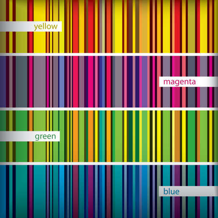 Retro seamless stripes pattern set. Colorful vintage lines background. Fabric texture.  Illustration