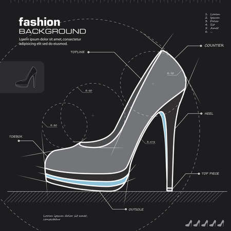 high heels: Shoe design.  Illustration