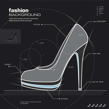 shoe: Shoe design.  Illustration